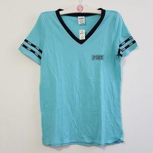 Victoria's Secret Pink V neck Ringer T Shirt